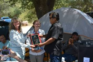 Receiving a plaque from the San Carlos Apache Nation upon completing our walk (photo courtesy of Anna Jeffrey)